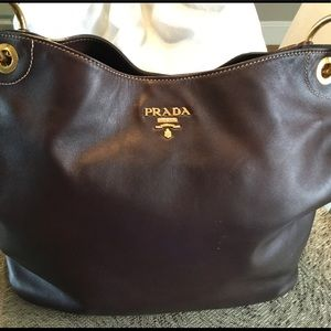 Prada Tobacco Leather Hobo Bag